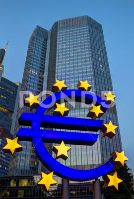 Stock photo of euro sign in frankfurt