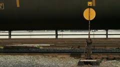 Tanker Cars Close Train Moving Past with Sound Stock Footage
