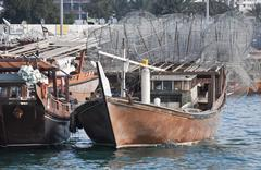 abu dhabi dhow - stock photo