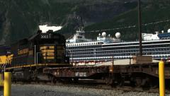 Alaska Railroad Locomotives Passing in Whittier, AK Stock Footage
