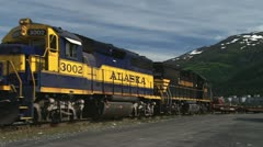 Alaska Railroad Locomotives and Freight Train Whittier Stock Footage