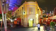 Stock Video Footage of HD night time lapse of Singapore- Clarke Quay