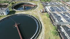 Huge circular sedimentation tank. - stock footage