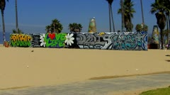 Bicycle Riders On Venice Beach Bike Path - stock footage