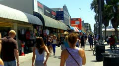 Crowded Venice Beach Boardwalk With Shops Stock Footage