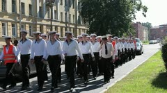 Marching down sailors in the street of Kronstadt, Russia Stock Footage