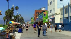The Venice Beach Boardwalk With Tourists Stock Footage