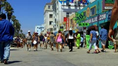 Tourist Crowd And Shops On Venice Beach Boardwalk Stock Footage