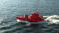 Red pilot boat russia Stock Footage