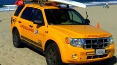 Venice Beach Lifeguard PZEV Rescue Truck Stock Footage