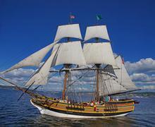 Stock Photo of the wooden brig, lady washington, sails on lake washington