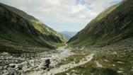 Man walking in mountain Stock Footage