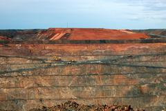 Trucks in super pit gold mine australia Stock Photos