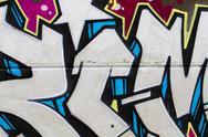 Segment of graffiti wall background, urban street grunge art design Stock Photos