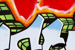 Graffiti on wall, multi colored spray Stock Illustration