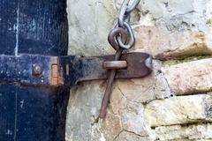 old door latch - stock photo