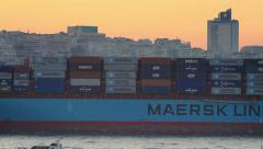MAERSK LINEs large ship full of containers sails from Black Sea Stock Footage