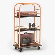 Luggage Cart & Suitcases 3D Model