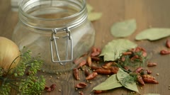 Spices like dill, chili, mustard seeds and cucumber falling intocanning jar Stock Footage