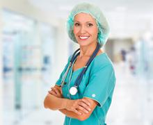 Medical doctor woman in the office Stock Photos