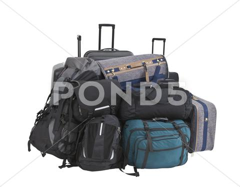 Stock photo of big pile of luggage isolated