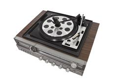 retro stereo turn table isolated with clipping path - stock photo