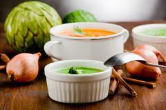 Vegetarian soups Stock Photos