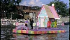 Hansel And Gretel Storybook Float Boat Parade 1960 Vintage Film Home Movie 3885 - stock footage