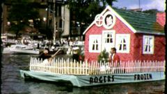 Three Little Pigs Float boat Parade 1960 Vintage Film Home Movie 3887 Stock Footage