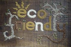 The phrase 'eco friendly', written and decorated in seeds - stock photo