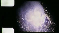 PINWHEEL Fireworks 4th of July Fireworks 1960s Vintage Film Home Movie 3894 - stock footage