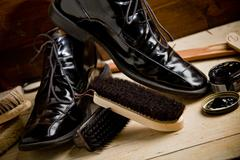 shoe polishing tools - stock photo