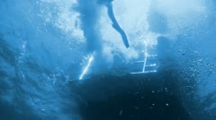 Divers preparing to dive, Red sea Stock Footage
