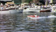 Man TINY HYDROPLANE Racing Boat Speed Sport 1970s Vintage Film Home Movie 3899 Stock Footage
