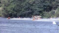 Man Rides HYDROPLANE Racing Boat Speed Sport 1970s Vintage Film Home Movie 3901 - stock footage