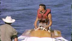 Man HYDROPLANE Racing Boat Speed Sport 1970s Vintage Film Home Movie 3904 - stock footage