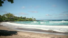 Tropical Paradise Beach, Hana, Maui Stock Footage