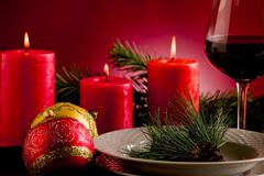 Decorated christmas table Stock Photos