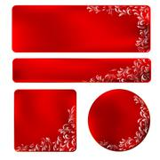 red frame with white ornament - stock illustration