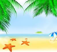 Summer palm beach Stock Illustration