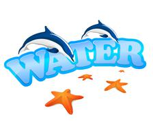 Water sign with dolphins Stock Illustration
