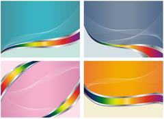 set of color business card - stock illustration