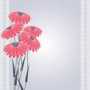 pink flowers on gray - stock illustration