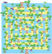 summer tropical labyrinth - stock illustration
