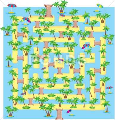 Stock Illustration of summer tropical labyrinth