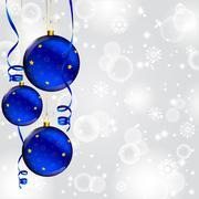 Christmas ball on abstract winter gray Stock Illustration