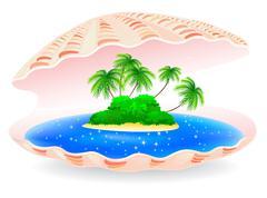 tropical island - stock illustration
