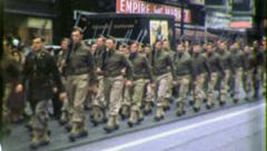 AMERICAN SOLDIERS Marching to WW2 War 1940s Vintage Film Retro Home Movie 3944 Stock Footage