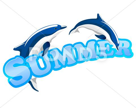 Stock Illustration of summer sign with dolphins