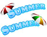Summer sign with umbrella Stock Illustration